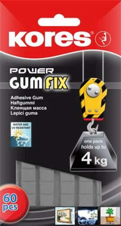 "Lepiaca hmota, 60 kociek/balenie, extra silná, KORES ""Power Gumfix"""