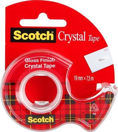 "Lepiaca páska, s dispenzorom, 19 mm x 7,5 m, 3M SCOTCH ""Crystal"""
