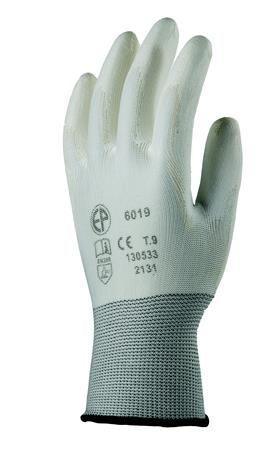 Montážne rukavice, biele, na dlani namočené do polyuretánu, veľkosť: 6