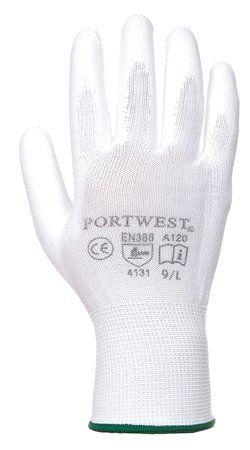 Montážne rukavice, na dlani namočené do polyuretánu, veľkosť: 8, biele