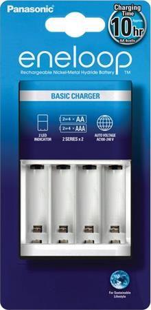 """Nabíjačka batérií, AA tužková/AAA mikrotužková, 2/4, časovač, PANASONIC """"Eneloop"""""""