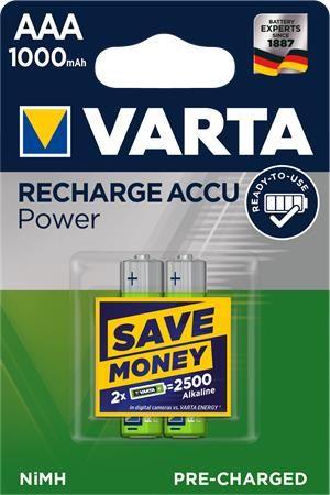 "Nabíjateľná batéria, AAA mikrotužková, 2x1000 mAh, VARTA ""Professional Accu"""