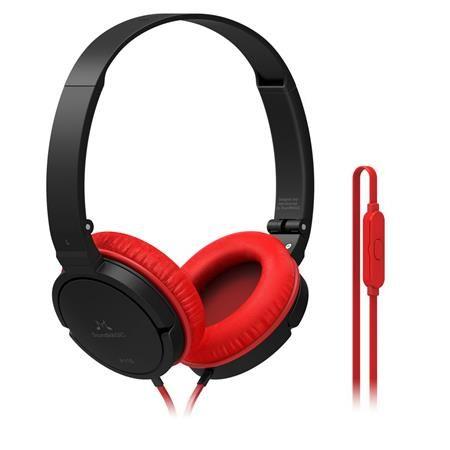 """Náhlavné slúchadlá, so vstavaným mikrofónom, 3,5 mm jack, SOUNDMAGIC """"P11S"""", čierne-červen"""