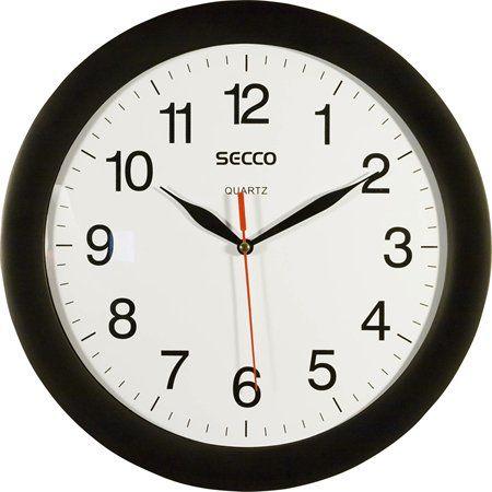 Nástenné hodiny, 28 cm,  SECCO, čierny rám