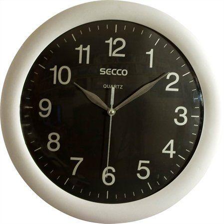 """Nástenné hodiny, 28 cm, SECCO """"Sweep Second"""", strieborné/čierne"""