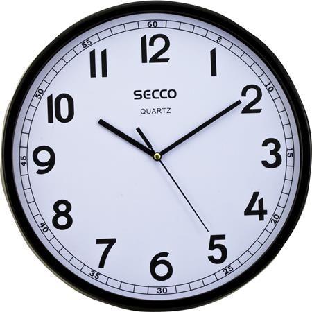 """Nástenné hodiny, 30 cm,  čierny rám, SECCO """"Sweep second"""""""