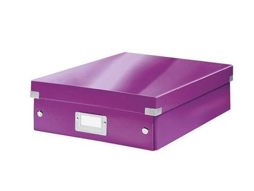 """Odkladací box, organizačný, laminovaný kartón, veľkosť M, LEITZ """"Click&Store"""", fialový"""
