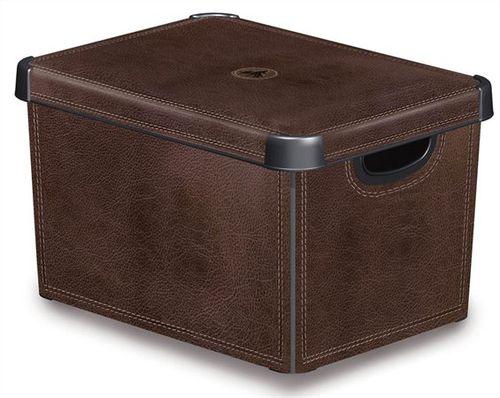 Odkladací box, s vekom, 22 l, efekt kože, CURVER
