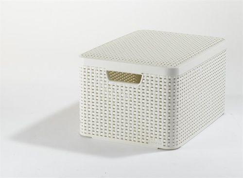 Odkladací box s vekom, s efektom rattanu, 30l, béžový, CURVER