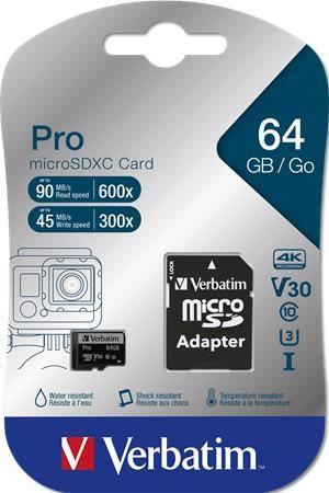 "Pamäťová karta, microSDXC, 64GB, C10/U3, 90/45 MB/s, s adapterom, VERBATIM ""PRO"""