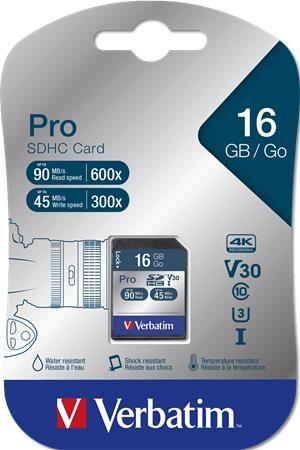 """Pamäťová karta, SDHC, 16GB, C10/U3, 90/45MB/sec, VERBATIM """"PRO"""""""