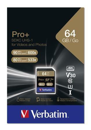 """Pamäťová karta, SDXC, 64GB, C10/U3, 90/80MB/sec, VERBATIM """"PRO+"""""""