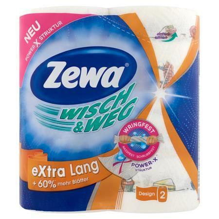 """Papierové utierky, 2 vrstvové, 2 kotúče/bal, ZEWA """"Wisch&Weg extra lang"""""""