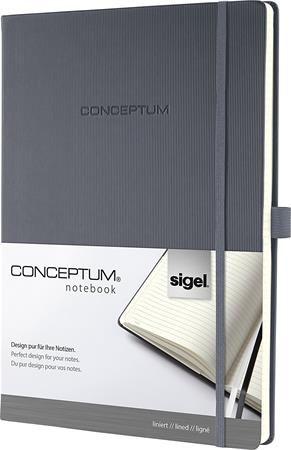 "Poznámkový blok, exkluzívny, A4, linajkový, 194 strán, tvrdá obálka, SIGEL ""Conceptum"", tm"