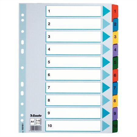 "Register, laminovaný kartón, A4, 1-10, ESSELTE ""Mylar"""