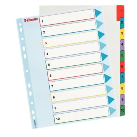 Register, laminovaný kartón, A4 Maxi, 1-10, prepisoavteľný, ESSELTE