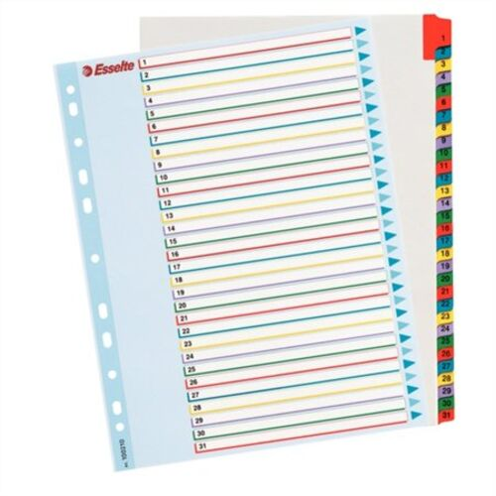 Register, laminovaný kartón, A4 Maxi, 1-31, prepisovateľný, ESSELTE