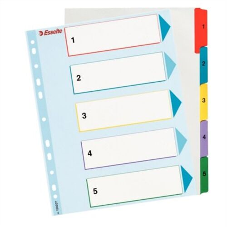 Register, laminovaný kartón, A4 maxi, 1-5, prepisovateľný, ESSELTE