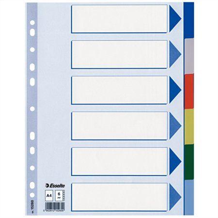 Register, plastový, A4, 6 dielny, ESSELTE