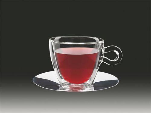 """Šálka na čaj, nehrdzavejúca podšálka, dvojité sklo, """"Thermo""""  30 cl"""