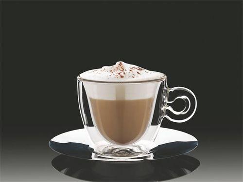"""Šálka na cappuccino, nehrdzavejúca podšálka, dvojité sklo, """"Thermo""""  16,5 cl"""