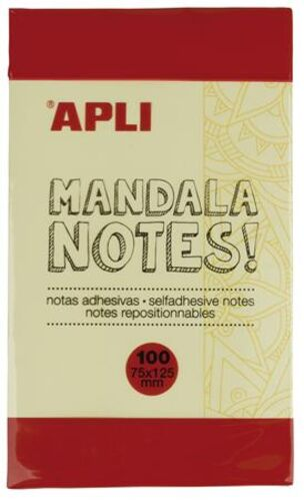 "Samolepiaci bloček, 125x75 mm, 100 listov, APLI ""Mandala notes"""