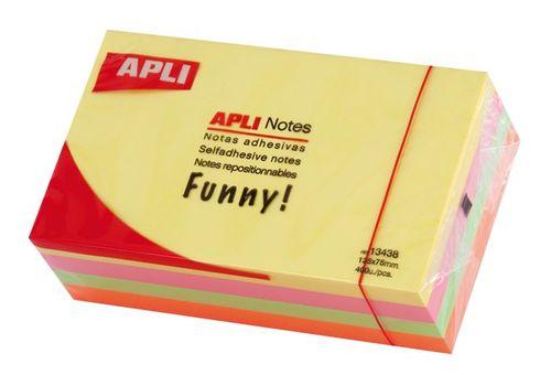 Samolepiaci bloček, 125x75 mm, 400 listov, APLI, neónový