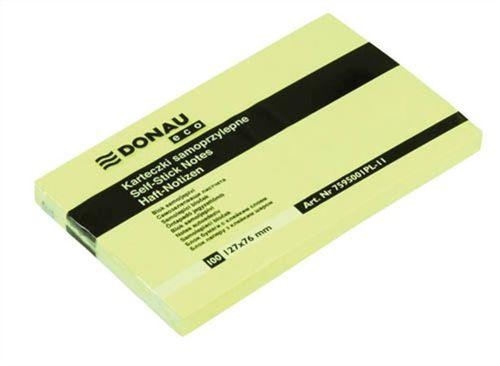 """Samolepiaci bloček, 127x76mm, 100 listov, DONAU """"ECO"""", žltý"""