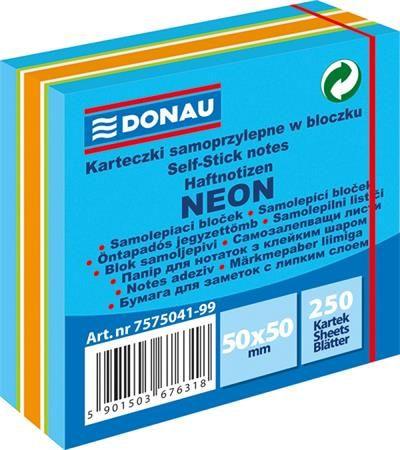 Samolepiaci bloček, 50x50mm, 250 listov, DONAU, neónové farby