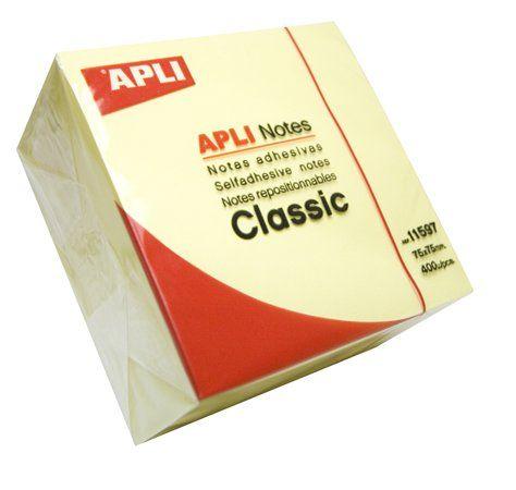 Samolepiaci bloček, 75x75 mm, 400 listov, APLI, žltý