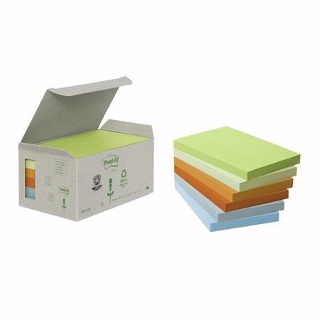 Samolepiaci bloček, 76x127 mm, 100 listov, ekologický, 3M POSTIT, pastelové farby