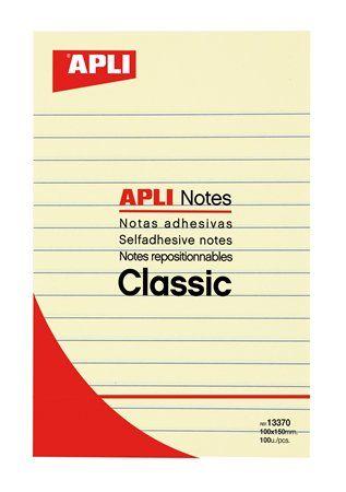 Samolepiaci bloček, linajkový, 100x150 mm, 100 listov, APLI, žltý