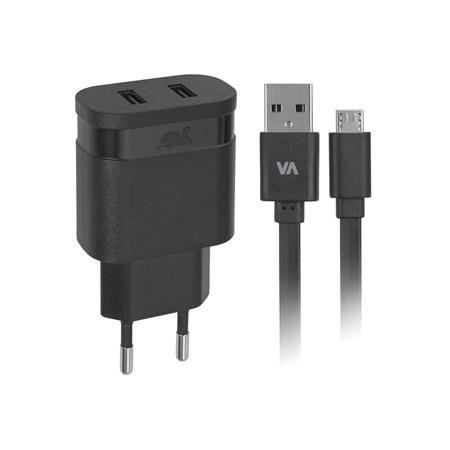 """Sieťová nabíjačka, 2 x USB, 3,4A, s micro USB káblom, RIVACASE """"VA 4123 BD1"""", čierna"""