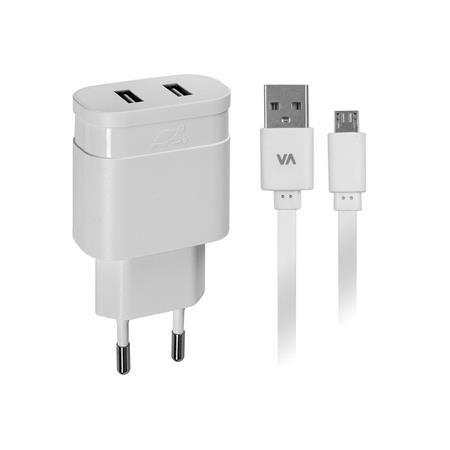 """Sieťová nabíjačka, 2 x USB, 3,4A, s micro USB káblom, RIVACASE """"VA 4123 WD1"""", biela"""