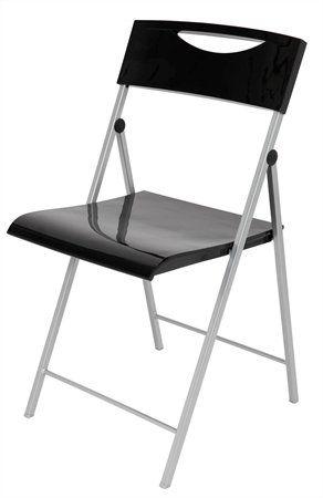 """Skladacia stolička, kov a  plast, ALBA """"Smile"""", čierna"""