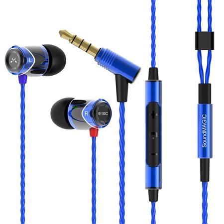 """Slúchadlá, s mikrofónom, ovládanie hlasitosti, kovové, SOUNDMAGIC """"E10C"""", modré-čierne"""