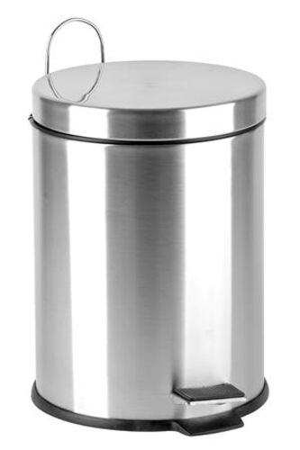Smetný kôš, kovový, s pedálom, s vyberateľným plastovým vedrom, 3 L