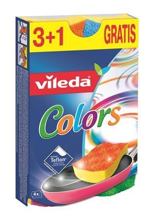 "Špongia na riad, 3+1 ks,  VILEDA ""Pure Active Colors"""