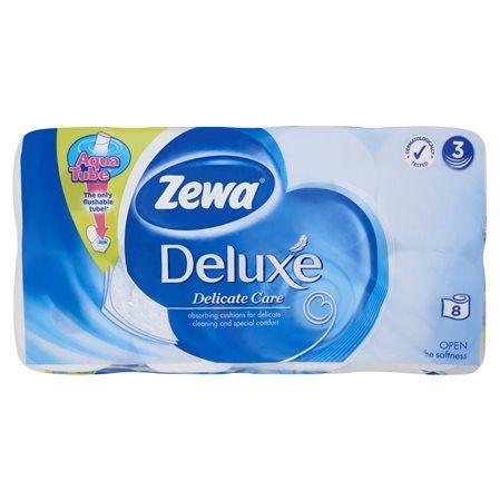 """Toaletný papier, 3 vrstvový, 8 kotúčov/bal, ZEWA  """"Deluxe"""", biely"""