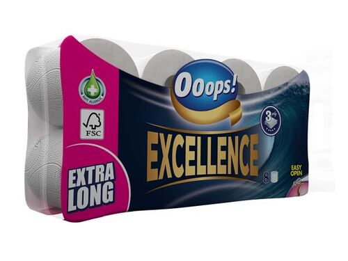 """Toaletný papier, 3 vrstvový, 8 kotúčový, """"Ooops! Excellence"""""""