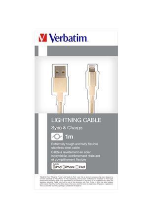 USB kábel, lightning, 100 cm, VERBATIM, zlatý
