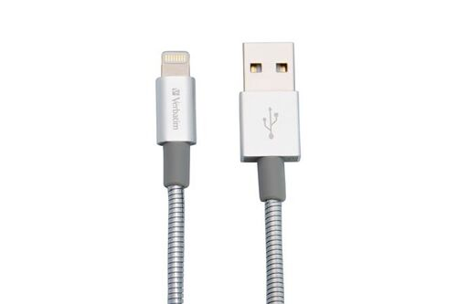 USB kábel, lightning, 30 cm, VERBATIM, strieborný