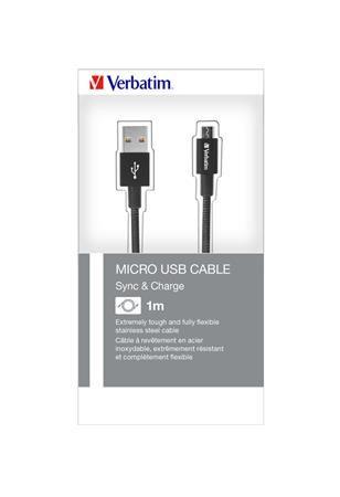 USB kábel, microUSB B, 100 cm. VERBATIM, čierny