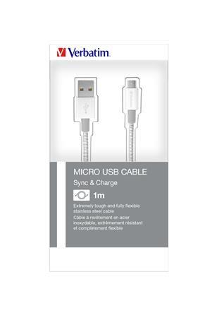 USB kábel, microUSB B, 100 cm. VERBATIM, strieborný