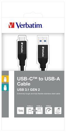 USB kábel, USB-C 3.1 - USB-A , 1 m, VERBATIM, strieborná