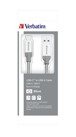 USB kábel, USB-C 3.1 - USB-A , 30 cm, VERBATIM, strieborná