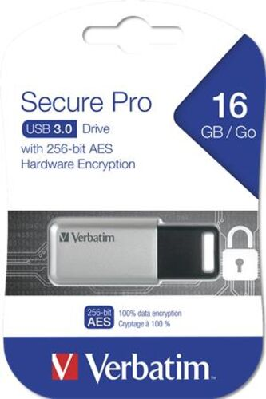 "USB kľúč, 16GB, USB 3.0, 100/20MB/sec, GDPR, VERBATIM ""Secure Pro"", strieborný"