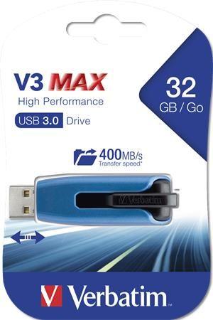 "USB kľúč, 32GB, USB 3.0, 175/80 MB/sec, VERBATIM ""V3 MAX"", modrý-čierny"