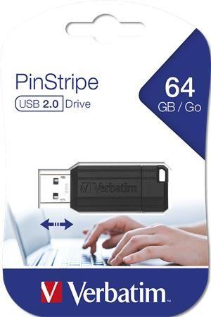 """USB kľúč, 64GB, USB 2.0, 10/4MB/sec, VERBATIM """"PinStripe"""", čierny"""