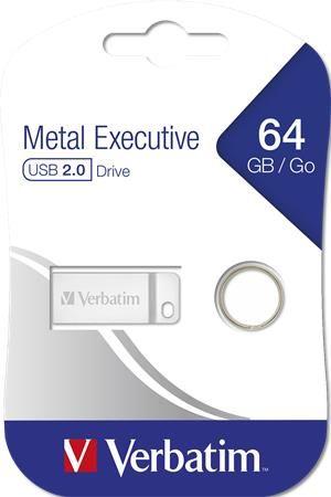 "USB kľúč, 64GB, USB 2.0,  VERBATIM ""Executive Metal"""